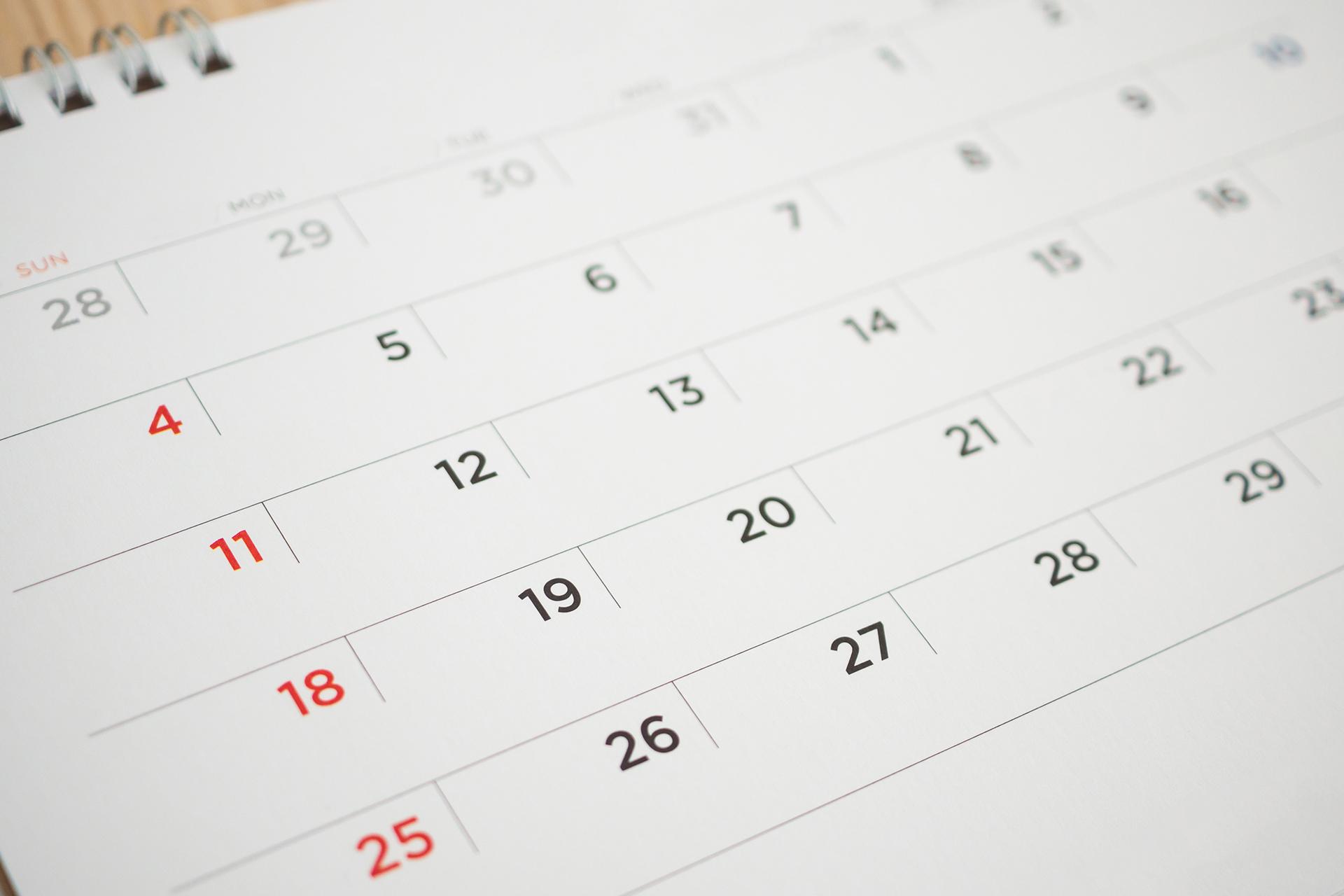 calendar page date close up